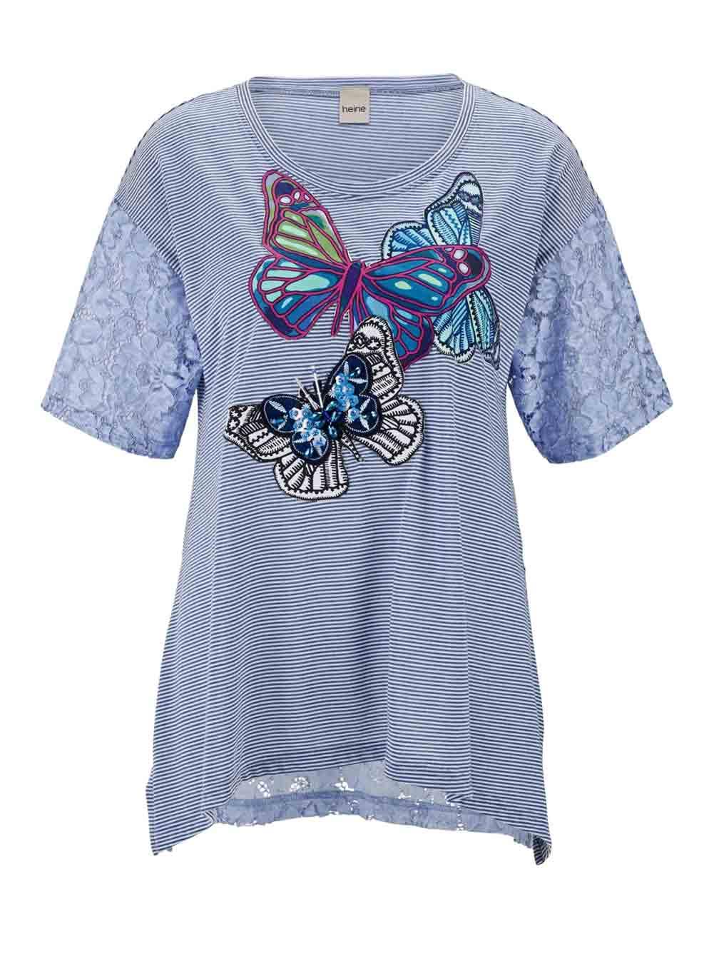 480.425 HEINE Damen Designer-Jerseyshirt m. Spitze Blau-Bunt