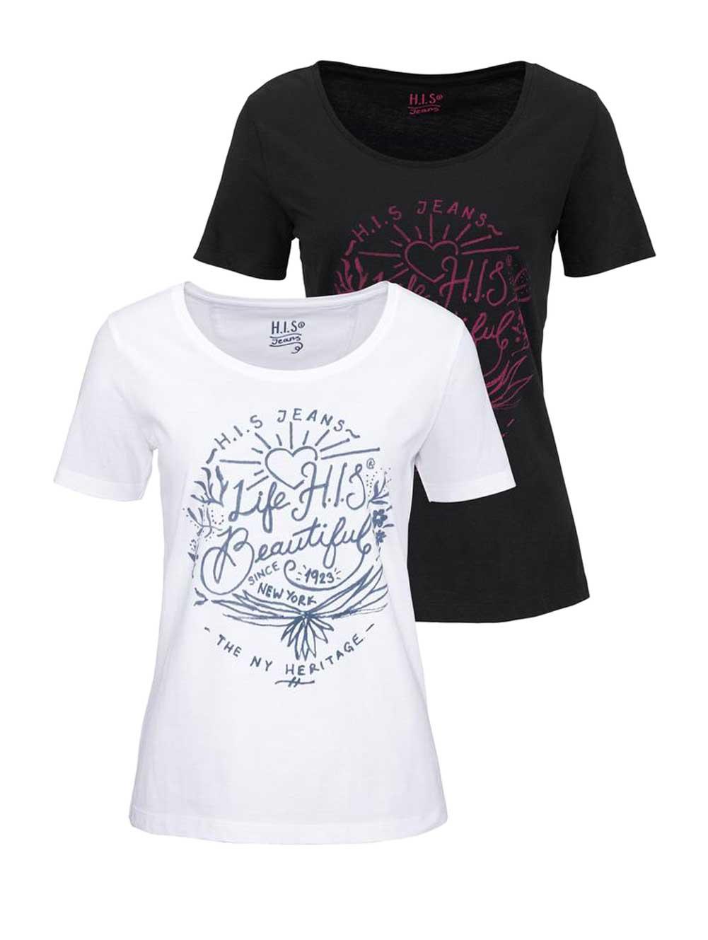568.187 H.I.S. Damen-Shirtset-2tlg Schwarz-Weiß