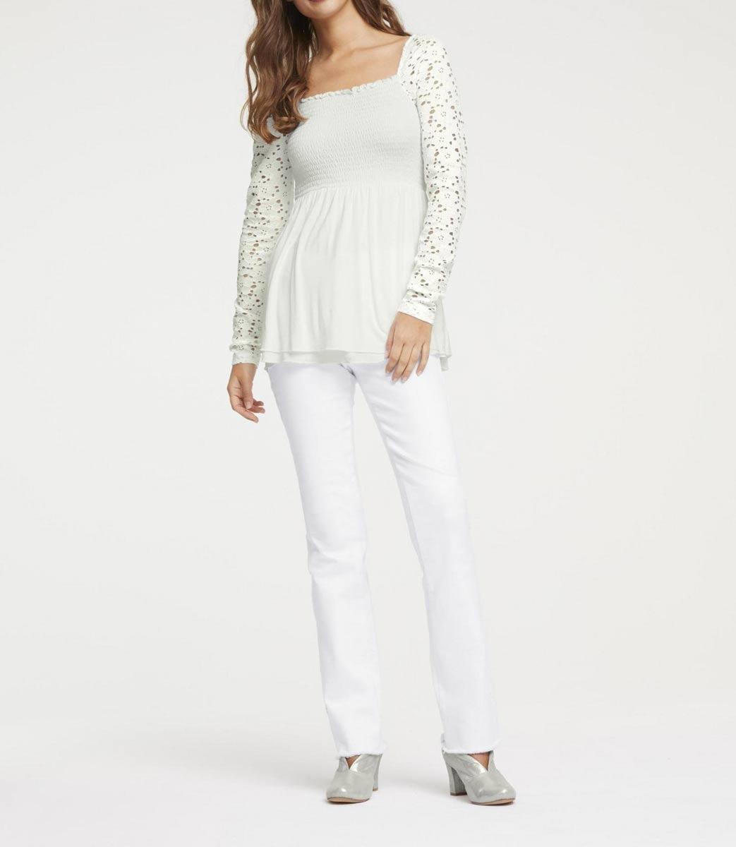 600.207 Spitzen-Jerseyshirt, offwhite von HEINE Grösse 44