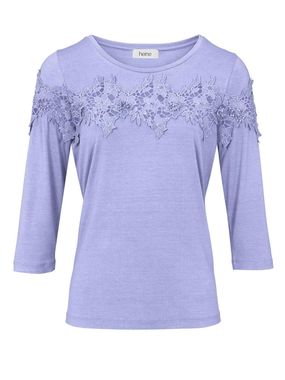 659.070 Shirt m. Spitze, jeansblau von HEINE Grösse 44