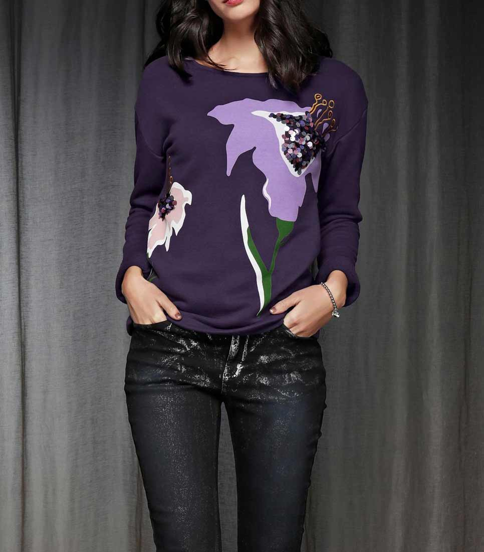 667.817 RICK CARDONA Damen Designer-Sweatshirt m. Pailletten Lila