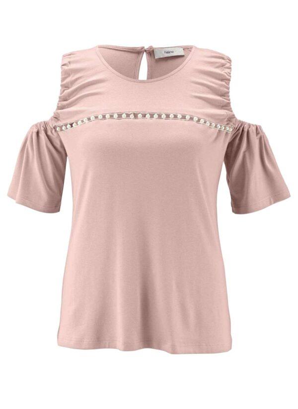 684.690 HEINE Damen Designer-Jerseyshirt m. Perlen Altrosa
