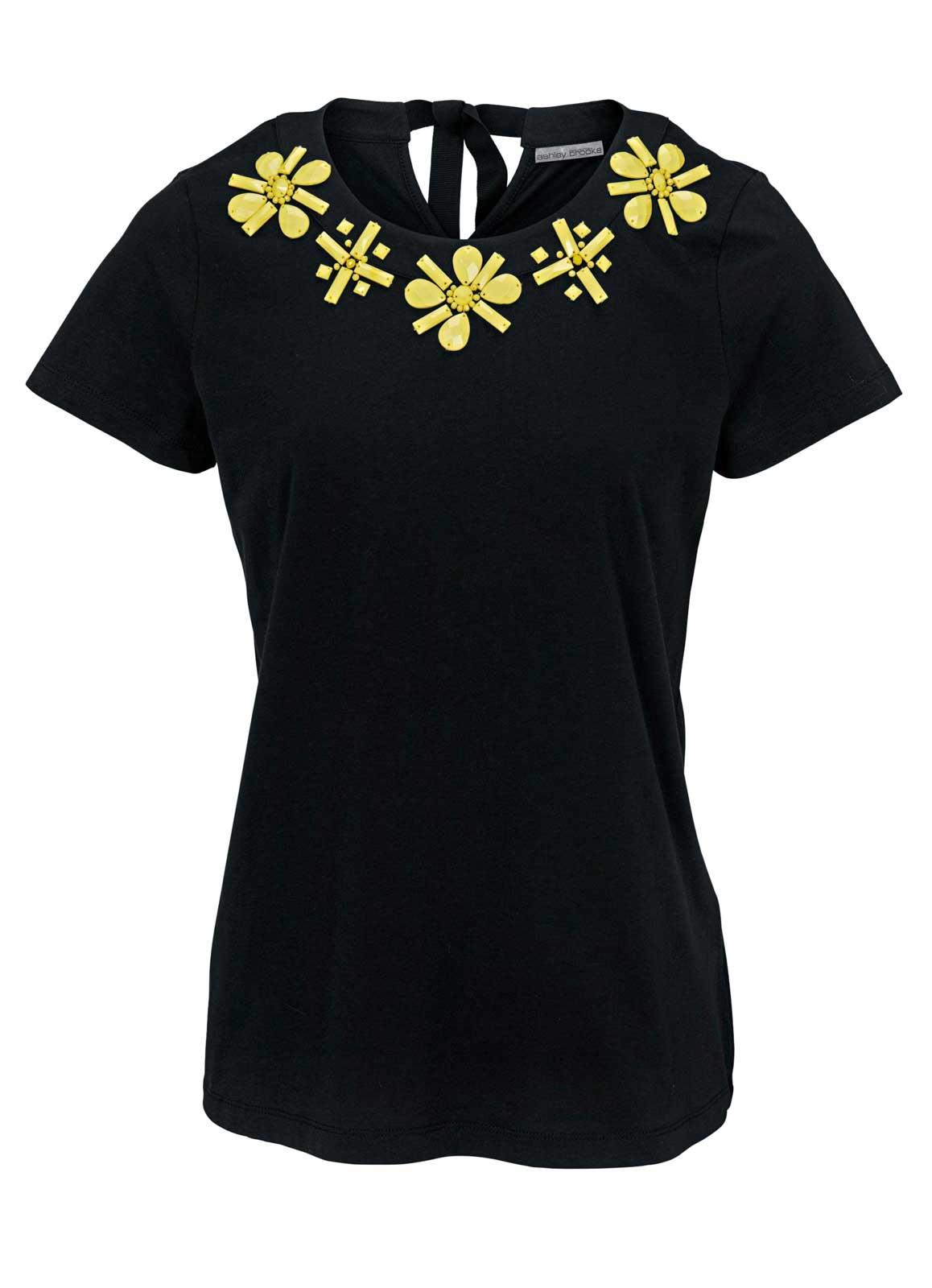 690.820 ASHLEY BROOKE Damen Designer-Shirt Schwarz-Gelb