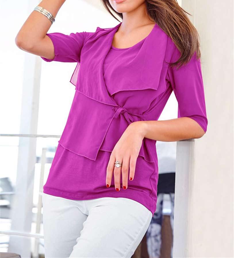 719.147 VIVANCE COLLECTION Damen-Shirt m. Chiffon Fuchsia