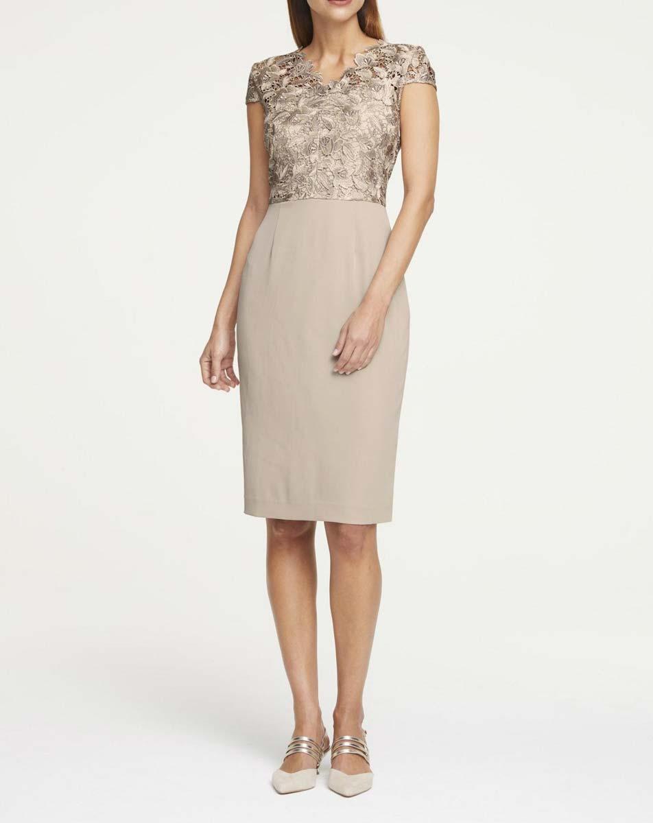 kurzes Kleid für besondere Anlässe | 901.678 HEINE Damen Designer-Etuikleid m. Spitze Taupe