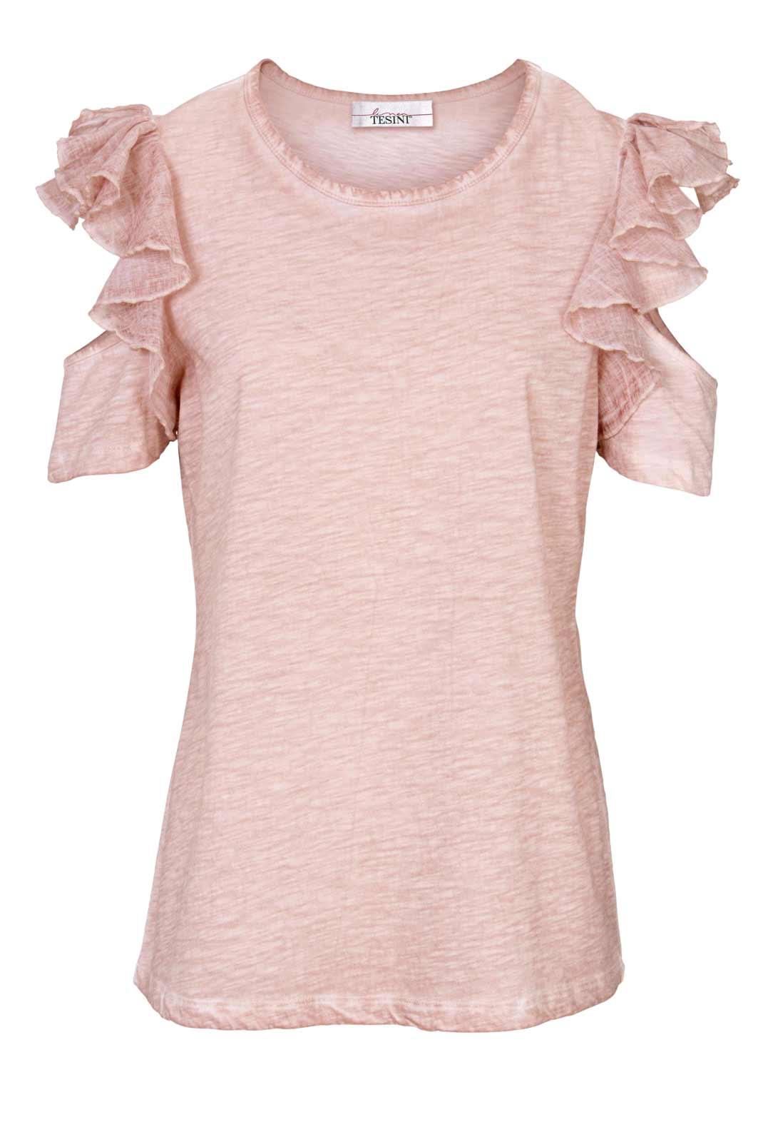 916.697 HEINE Damen Designer-Shirt m. Volants Rosé-Used