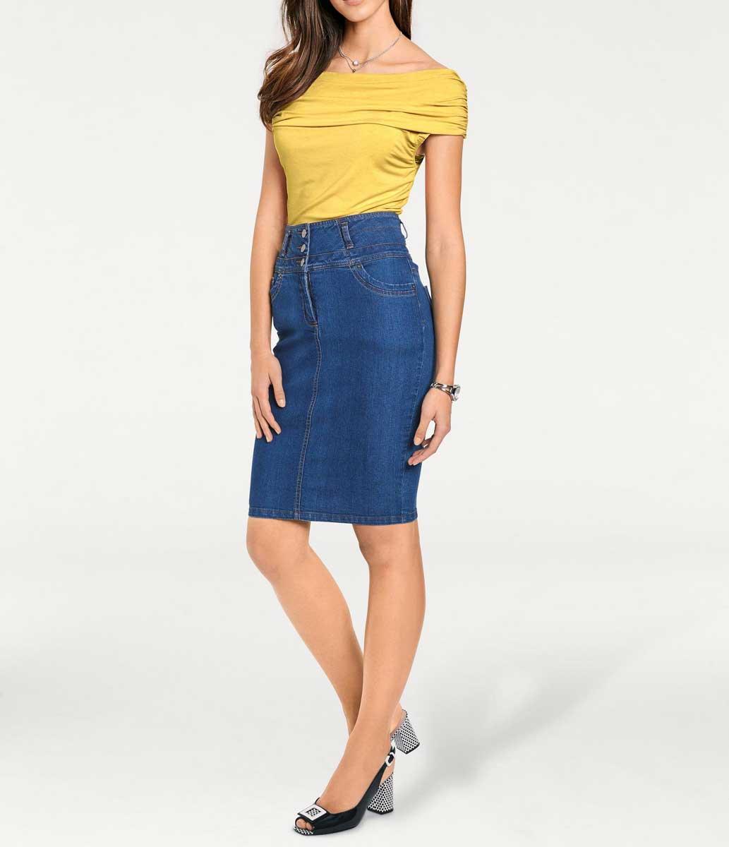 960.339 ASHLEY BROOKE Damen Designer-Carmenshirt Gelb