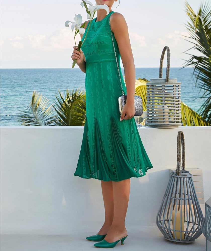 960.635 HEINE Damen Designer-Spitzen-Plisseekleid Smaragd