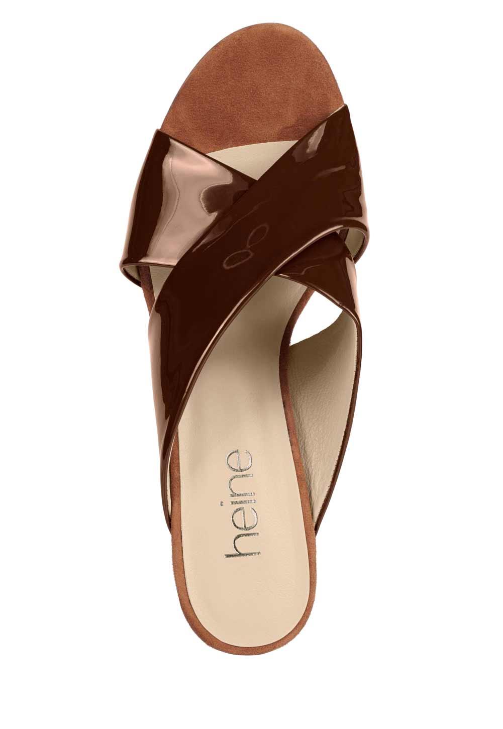 321.530a HEINE Damen Designer-Lackleder-Pantolette Braun
