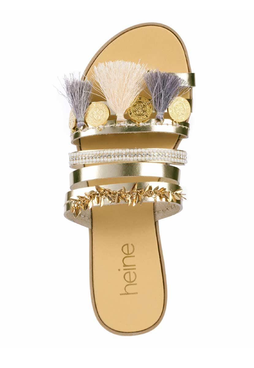 405.453 HEINE Damen Designer-Leder-Pantolette Goldfarben