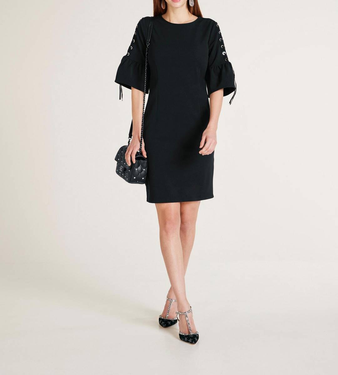520.032 ASHLEY BROOKE Damen Kleid mit Schnürung Schwarz