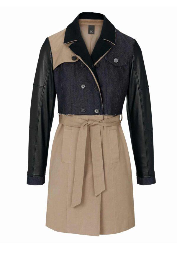 716.488 HEINE Damen Patchwork-Trenchcoat mit Leder