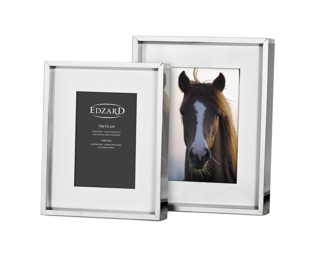 2498 Fotorahmen Bilderrahmen Perugia für Foto 13 x 18 cm, glänzend vernickelt, mit 2 Aufhängern