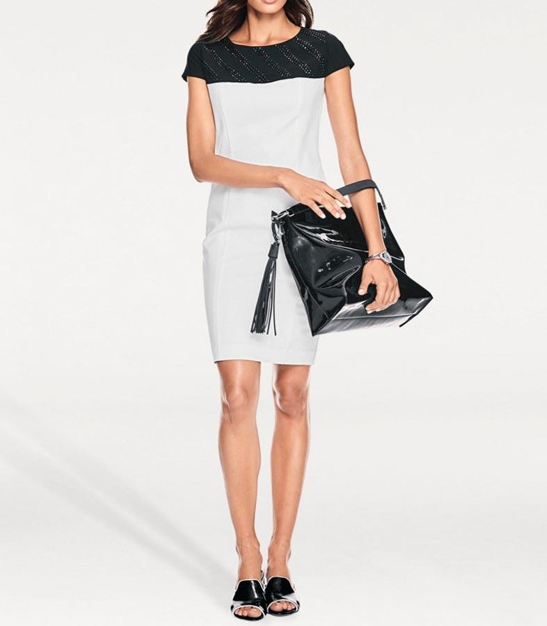 business kleider für damen ASHLEY BROOKE Damen Designer-Patch-Etuikleid Ecru-Schwarz 002.698 Missforty