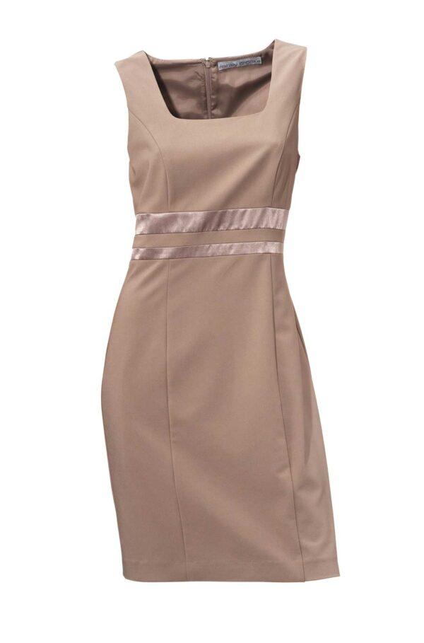business kleider für damen ASHLEY BROOKE Damen Designer-Etuikleid Taupe Stretch Ohne Ärmel Bürokleid Top 003.148 Missforty