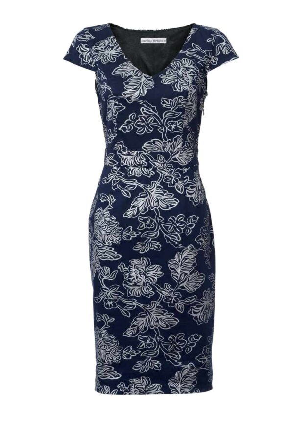business kleider für damen ASHLEY BROOKE Damen Designer-Optimizer-Etuikleid Blau-Silber 003.316 Missforty