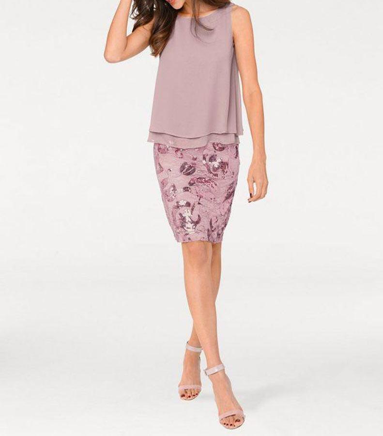 kurzes kleid für besondere anlässe ASHLEY BROOKE Damen Designer-Cocktailkleid mit Pailletten Rose 004.804 Missforty
