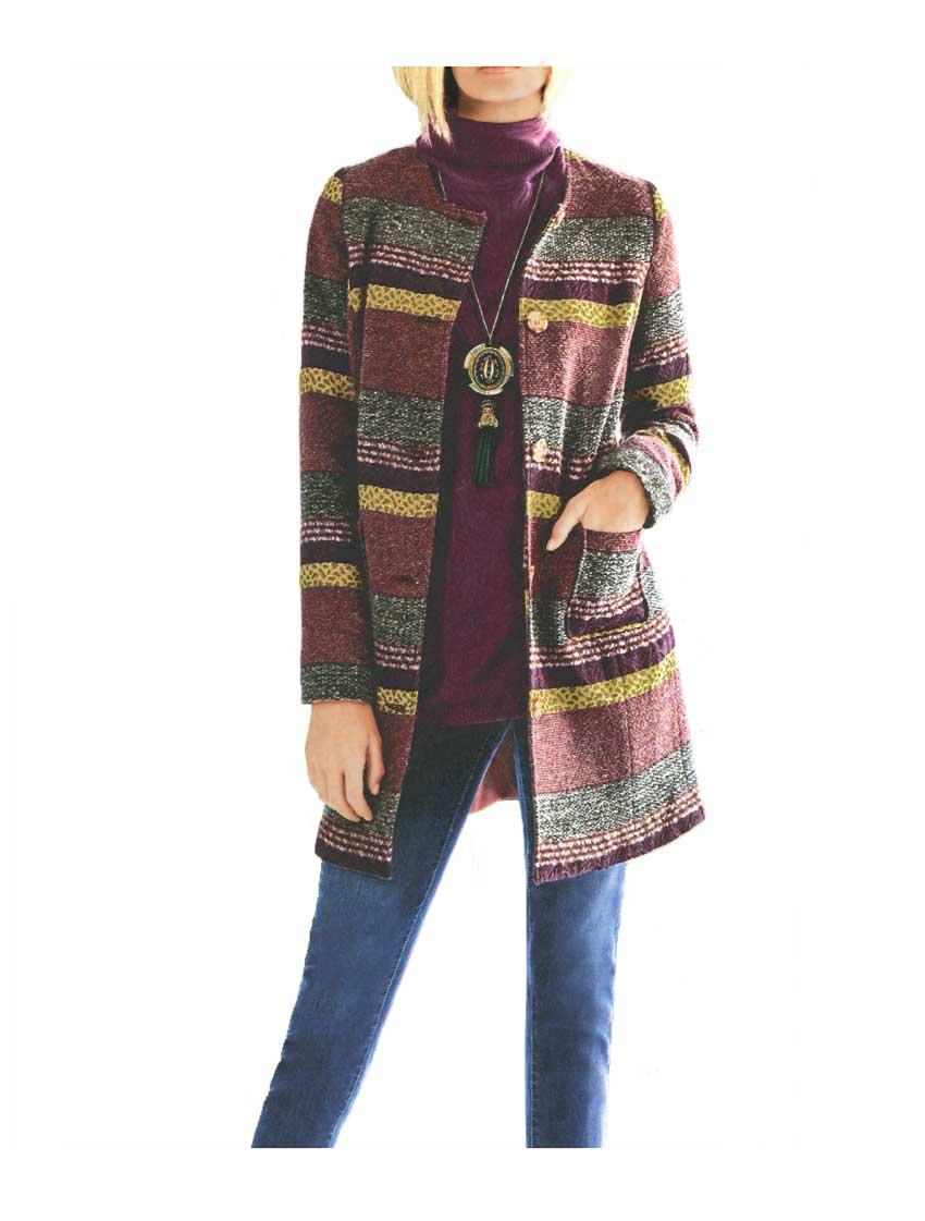 Damenmäntel Frühjahr 2021 Rick Cardona Damen Designer-Wollmantel Jacquard Bunt Herbstfarben Ethno Knopf 005.406 Missforty