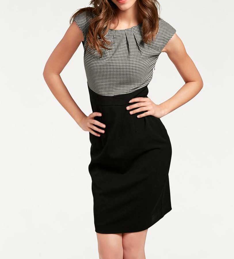 business kleider für damen ASHLEY BROOKE Damen Etuikleid mit Mieder Schwarz-Weiß 005.718 Missforty