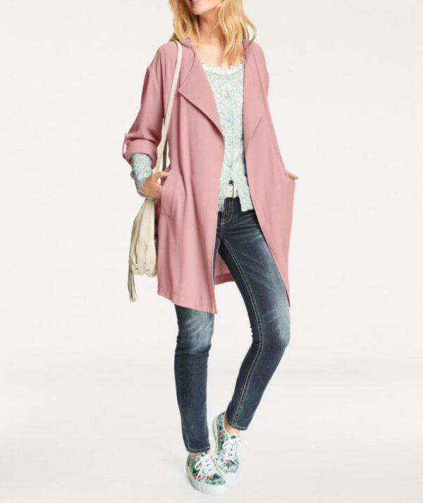 Damenmäntel Frühjahr 2021 HEINE Damen Designer-Mantel Rosé Rosa Sommermantel Bindgegürtel Chic! 005.874 Missforty