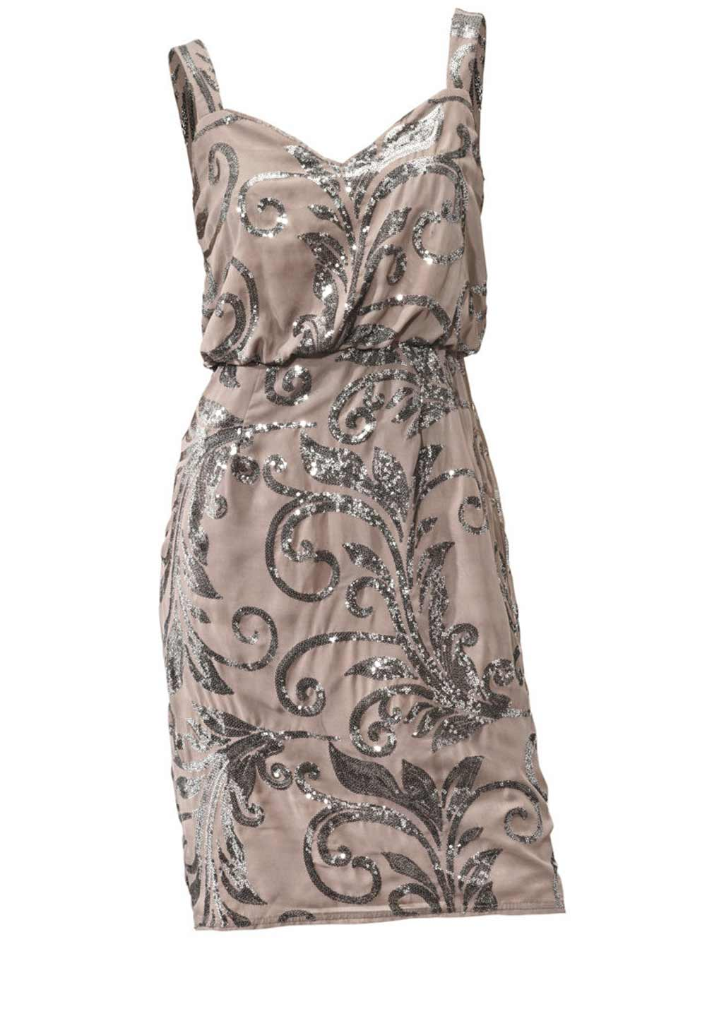 kurzes kleid für besondere anlässe Cocktailkleid m. Pailletten, taupe von Ashley Brooke event Grösse 34 006.639 Missforty
