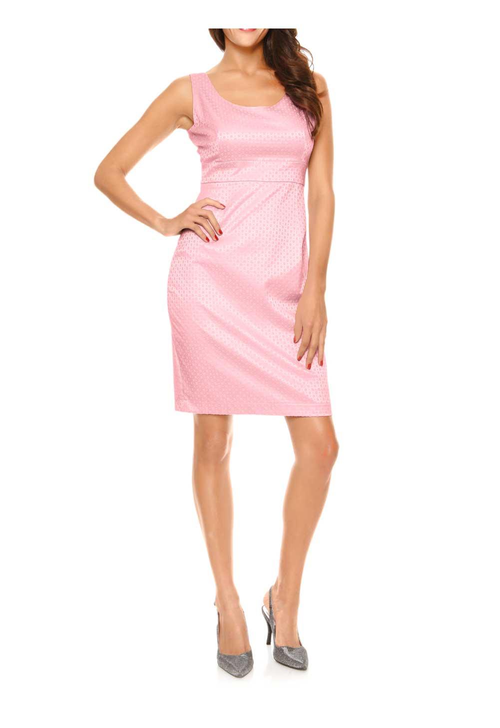 kurzes kleid für besondere anlässe Jacquard-Etuikleid, rosé von Ashley Brooke event Grösse 52 007.100 Missforty