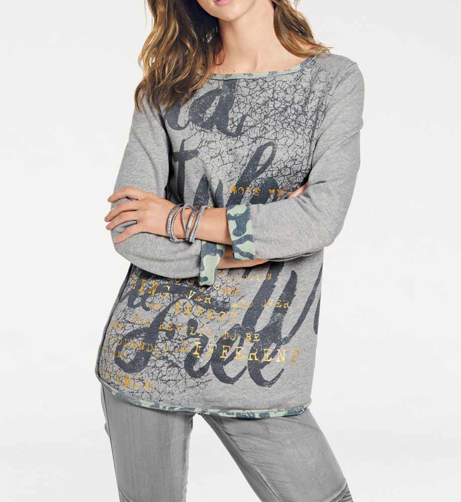 t shirts ohne ärmel HEINE Damen Designer-Wende-Sweatshirt Hellgrün-Grau 008.113 Missforty