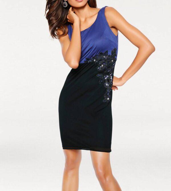 kurzes kleid für besondere anlässe ASHLEY BROOKE Damen Designer-Cocktailkleid Blau-Schwarz 008.119 Missforty