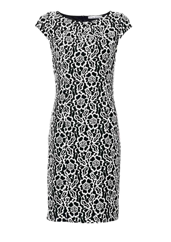 business kleider für damen ASHLEY BROOKE Damen Designer-Etuikleid Schwarz-Ecru 008.495 Missforty