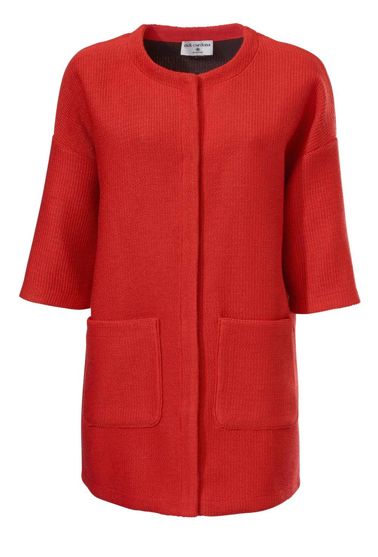 Damenmäntel Frühjahr 2021 Rick Cardona Damen Designer- Mantel Rundhals Strick Optik Rot Kurzmantel 008.506 Missforty