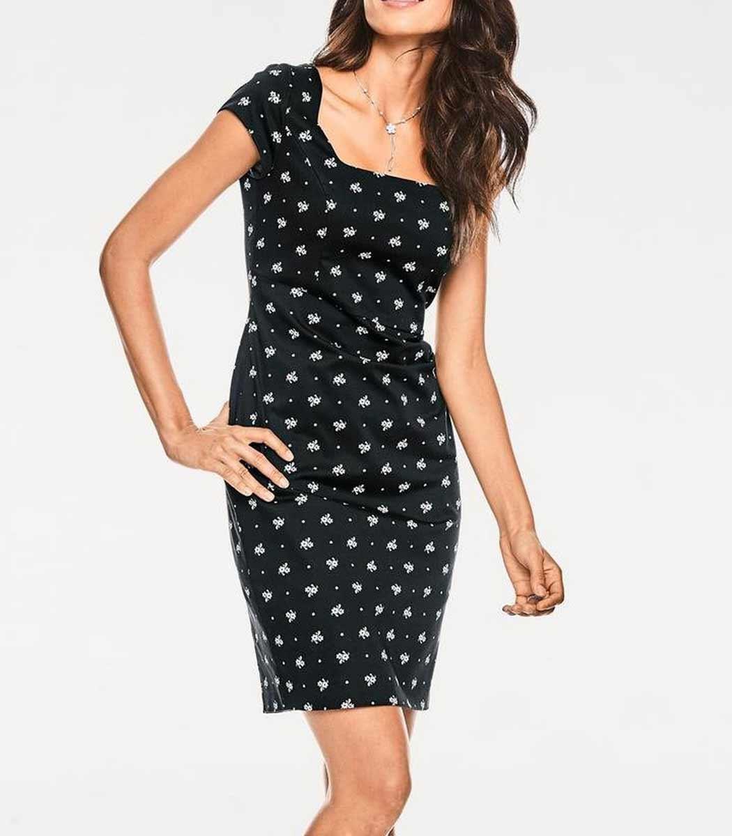 business kleider für damen ASHLEY BROOKE Damen Designer-Etuikleid Schwarz-Weiß 009.175 Missforty
