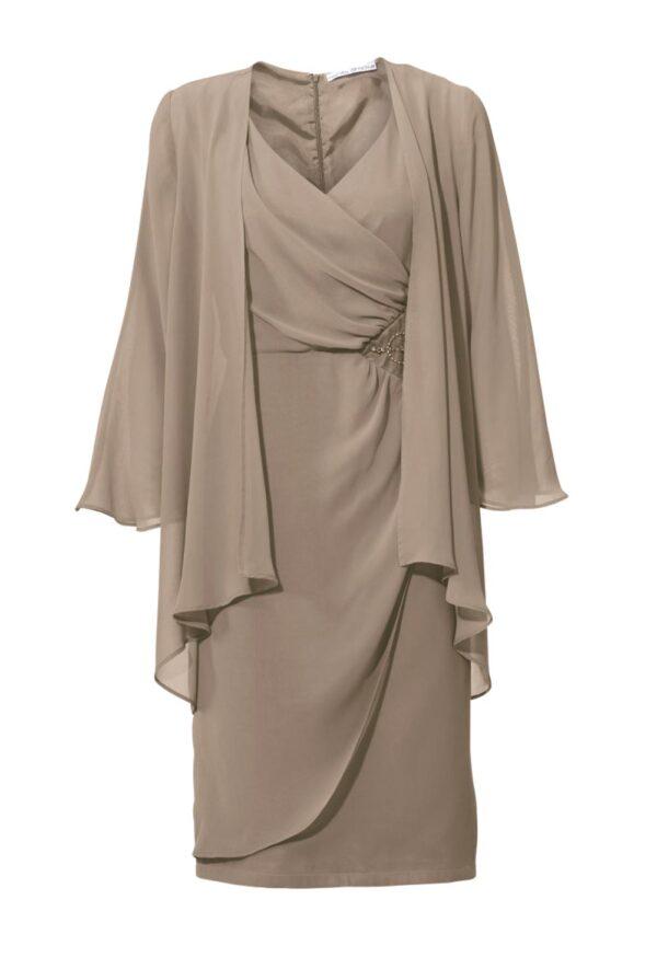 kurzes kleid für besondere anlässe ASHLEY BROOKE Damen Designer-Cocktailkleid+Bluse Taupe 009.714 Missforty