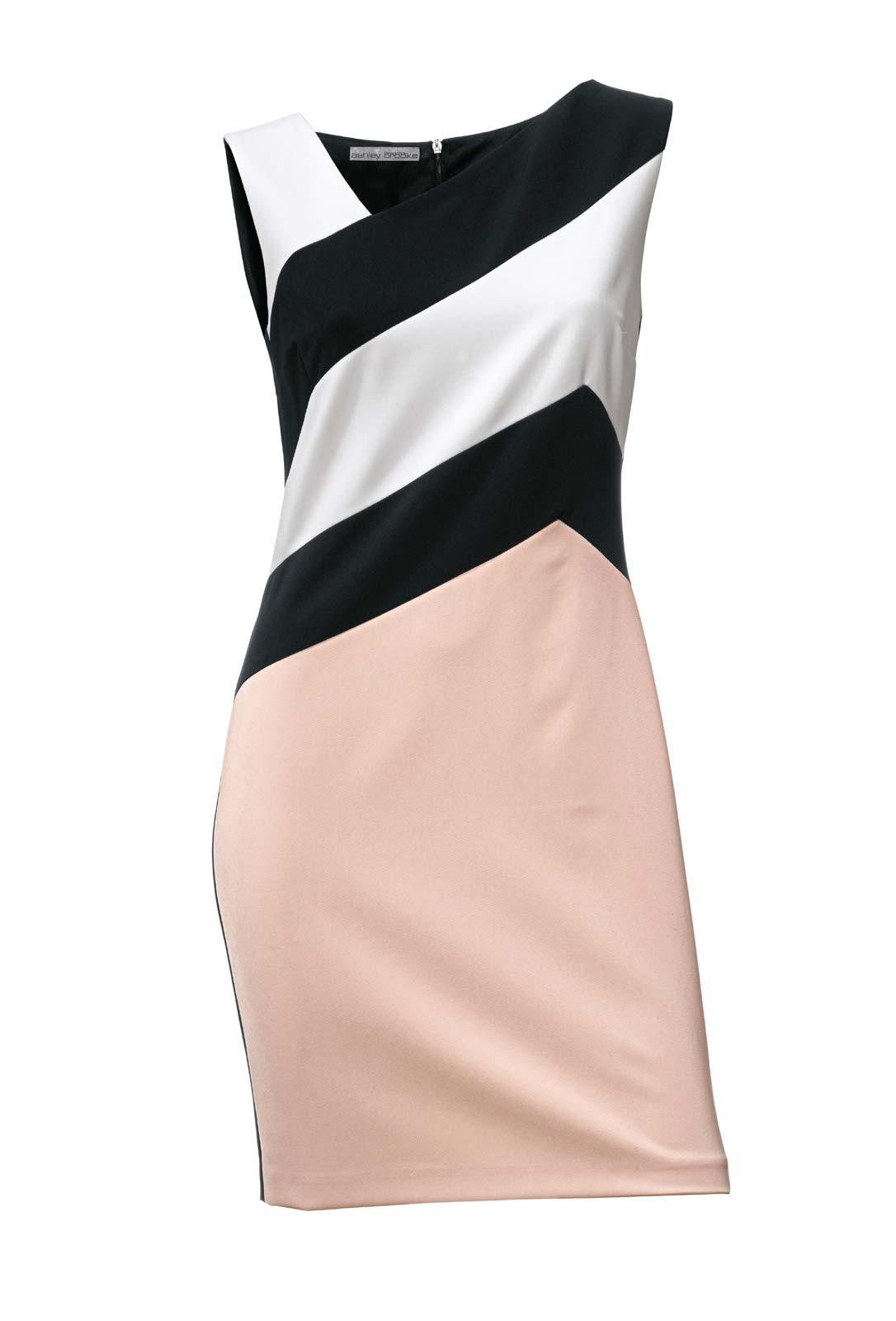 business kleider für damen ASHLEY BROOKE Damen Designer-Etuikleid Ärmellos Rosé-Schwarz-weiß Streifen 009.826 Missforty