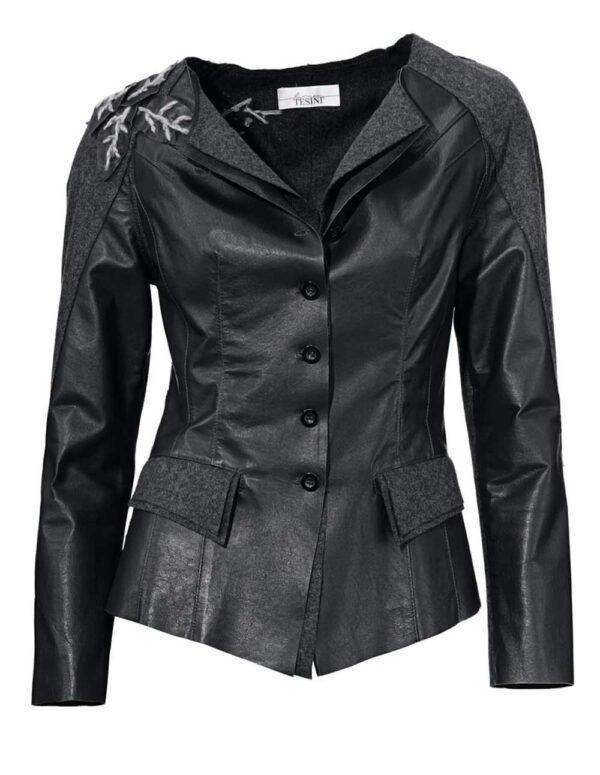 jacken auf rechnung bestellen als neukunde Lina Tesini Patchjacke Lederblazer schwarz-grau 025.840 MISSFORTY