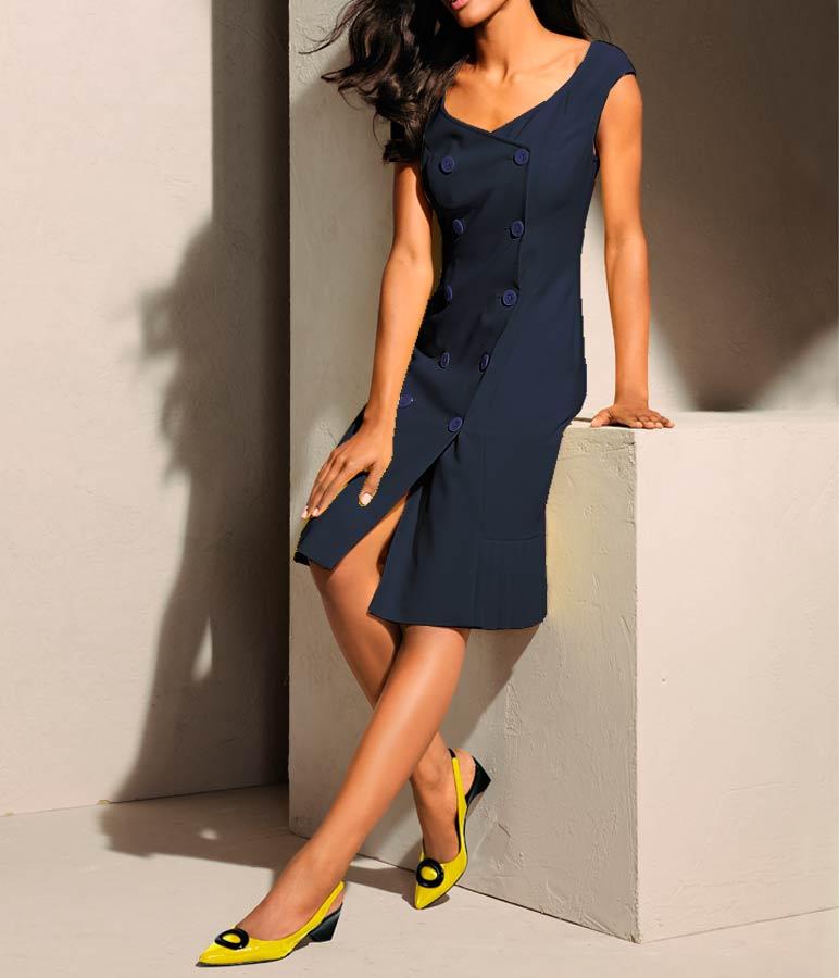 business kleider für damen S. MADAN Damen-Etuikleid Marine 033.293 Missforty