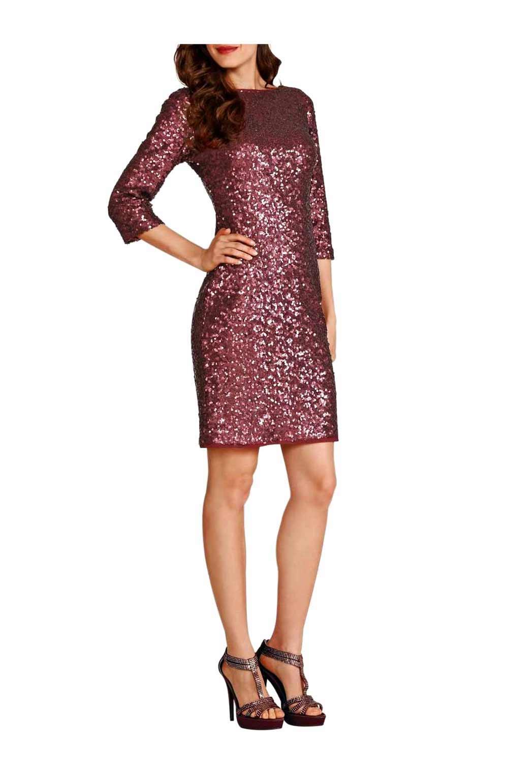 kurzes kleid für besondere anlässe APART Damen Designer-Paillettenkleid Bordeaux 036.737 Missforty