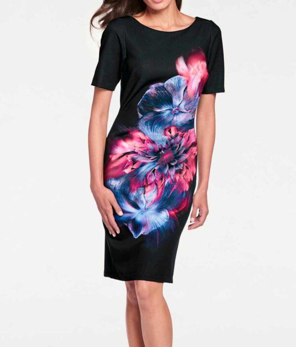 business kleider für damen ASHLEY BROOKE Damen Designer-Etuikleid Schwarz-Bunt 036.771 Missforty