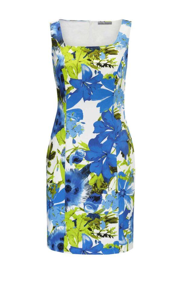 business kleider für damen ASHLEY BROOKE Damen Designer-Druck-Etuikleid Blau-Grün 038.596 Missforty