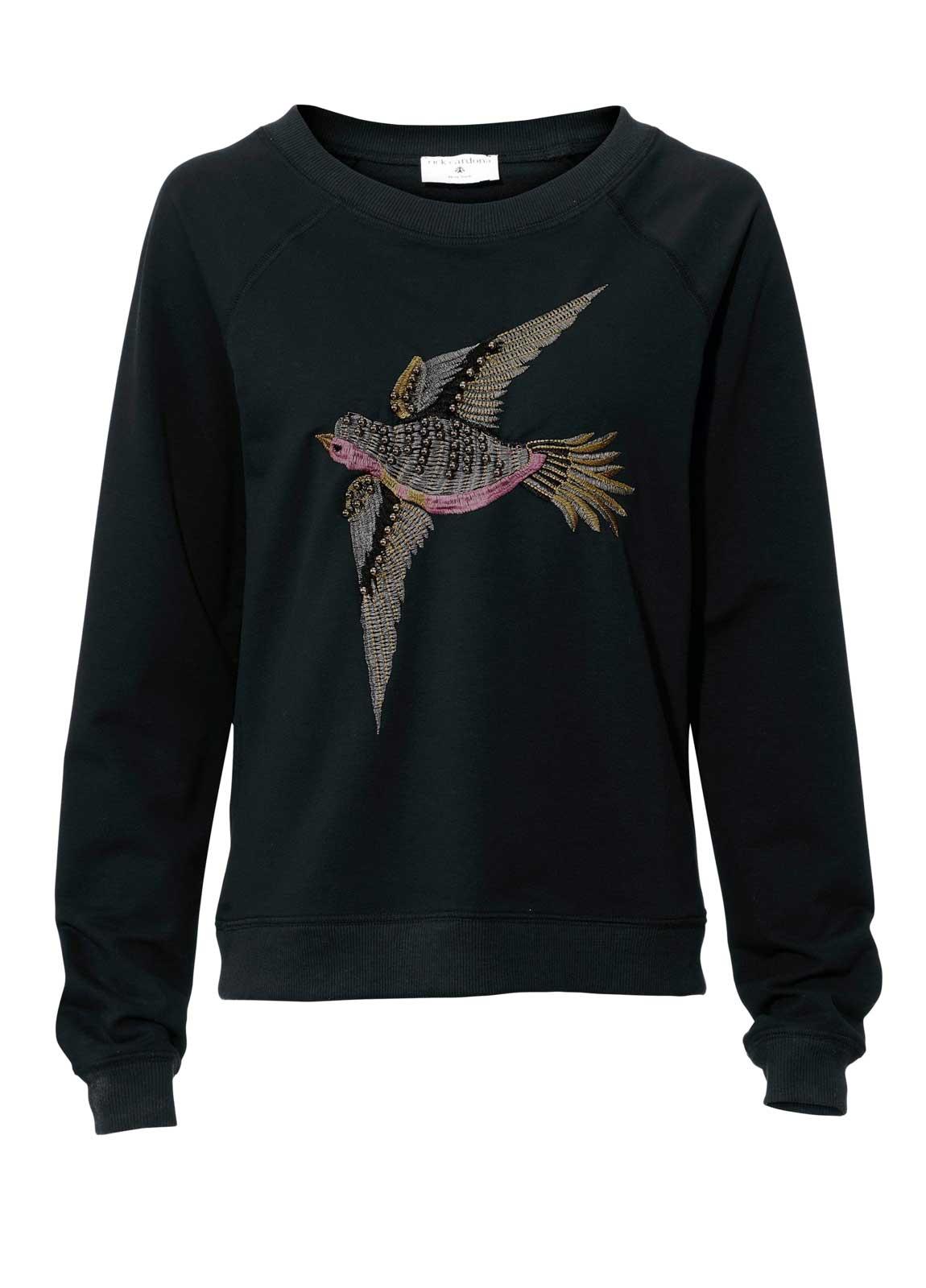 sweatshirts auf rechnung RICK CARDONA Damen Designer-Sweatshirt m. Perlen Schwarz 042.021 MISSFORTY