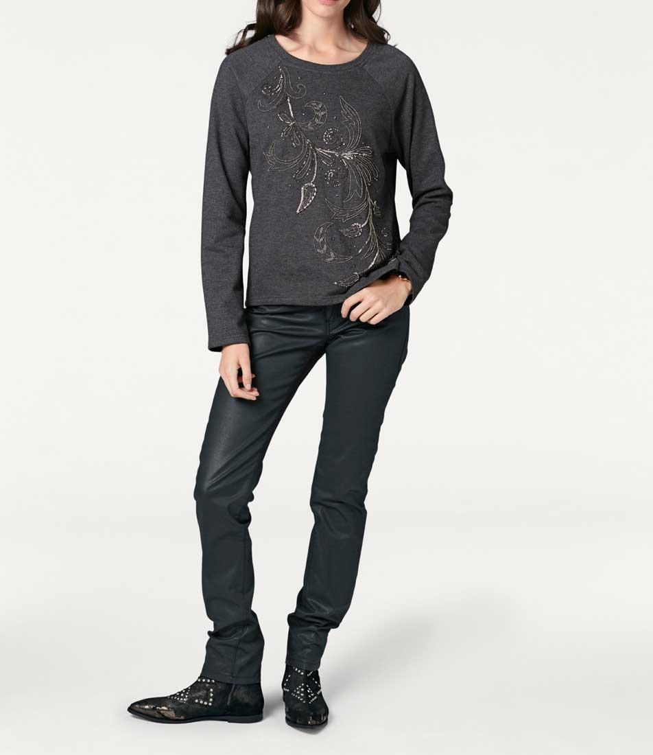 t shirts ohne ärmel RICK CARDONA Damen Designer-Sweatshirt m. Perlen Grau 043.224 Missforty