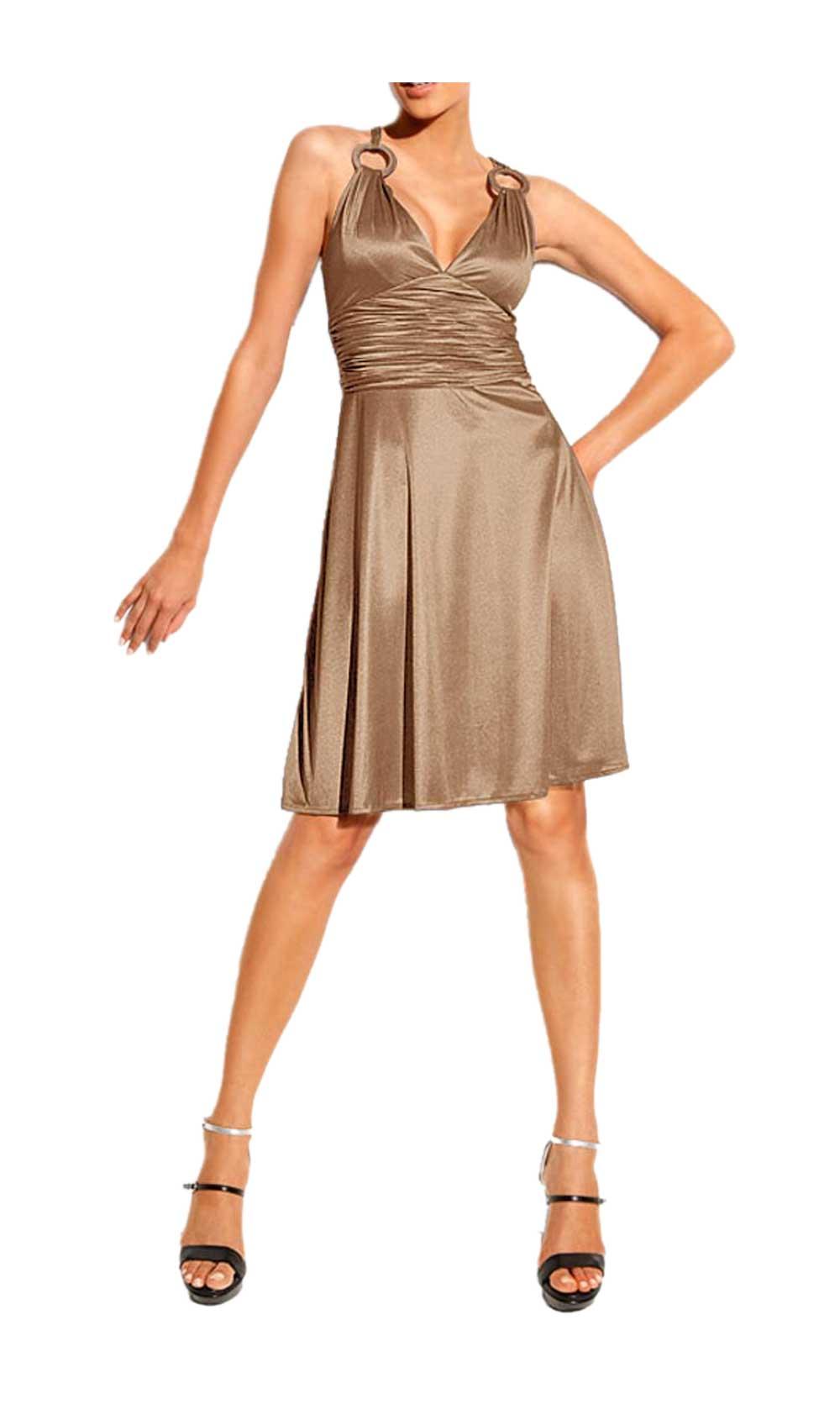 kurzes kleid für besondere anlässe HEINE Damen Designer-Cocktailkleid Taupe 045.945 Missforty