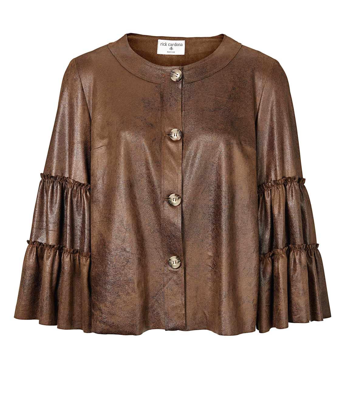 jacken auf rechnung bestellen als neukunde RICK CARDONA Damen Designer-Lederimitatjacke Cognac Kunstleder Luxusjacke Glanz 055.433 MISSFORTY