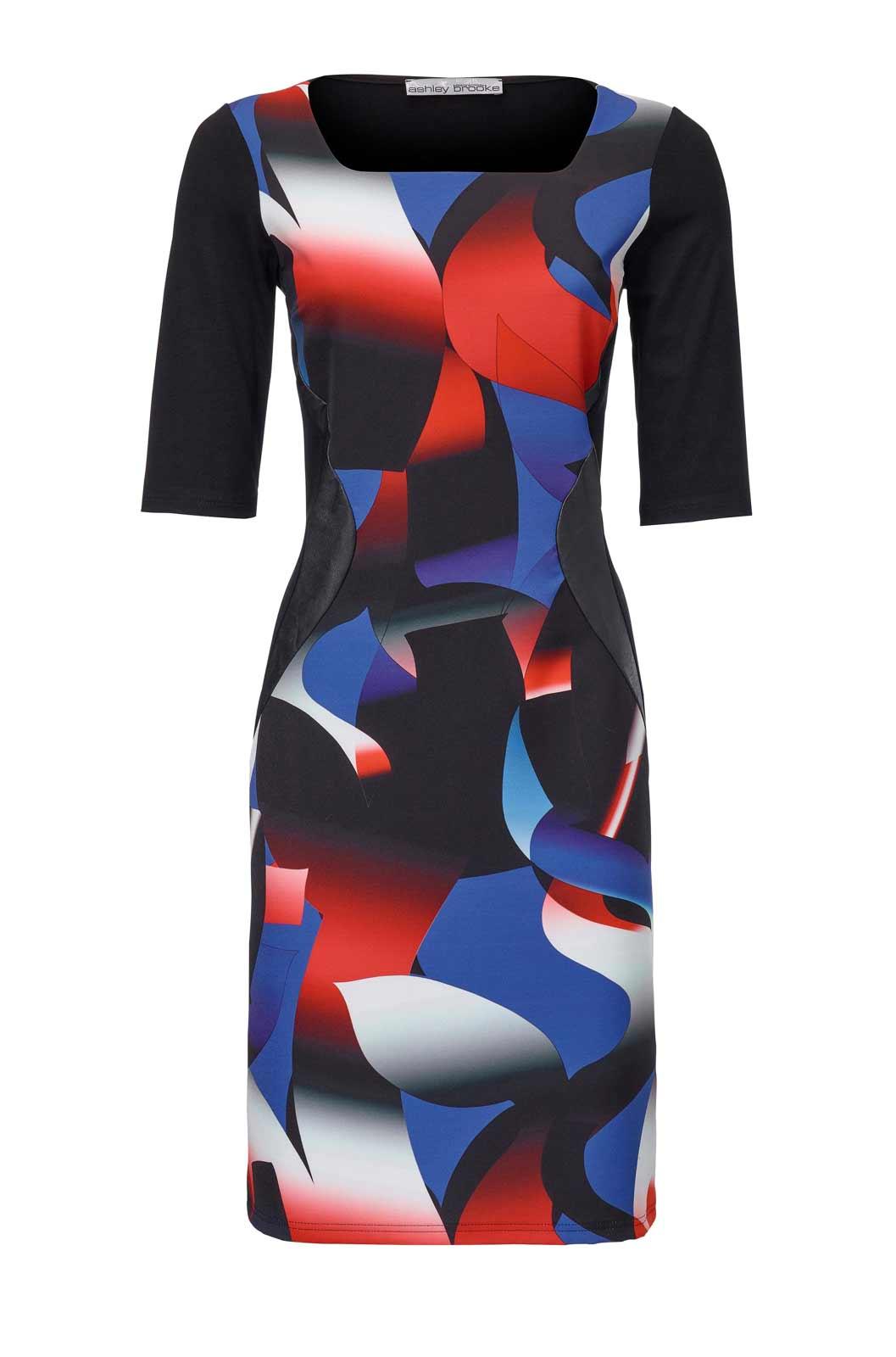 business kleider für damen ASHLEY BROOKE Damen Designer-Etuikleid Schwarz-Bunt 055.979 Missforty