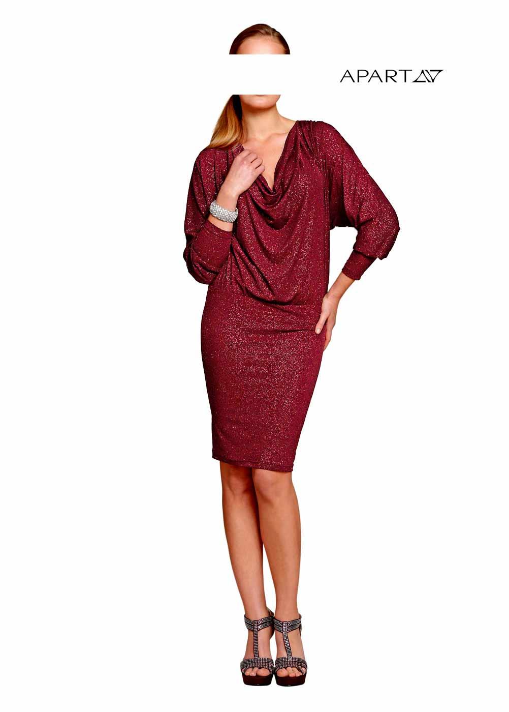 kurzes kleid für besondere anlässe APART Damen Designer-Abendkleid Bordeaux 064.598 Missforty