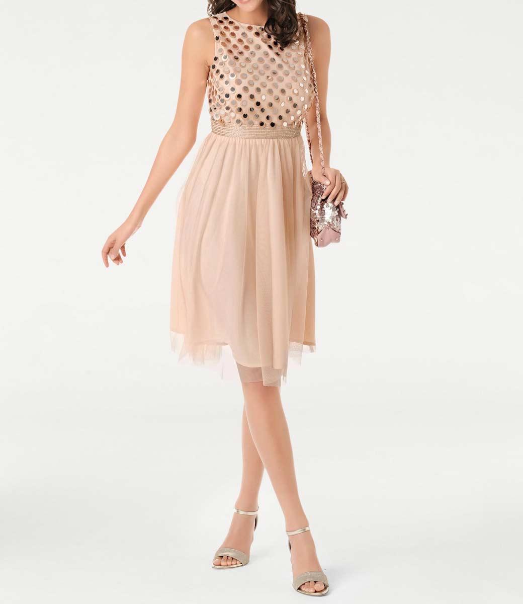 abendkleider in übergrößen ASHLEY BROOKE Damen Designer-Cocktailkleid Apricot 064.678 Missforty