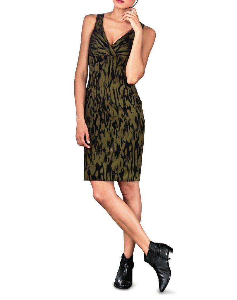 business kleider für damen Heine Etuikleid khaki-schwarz 068.449 Missforty