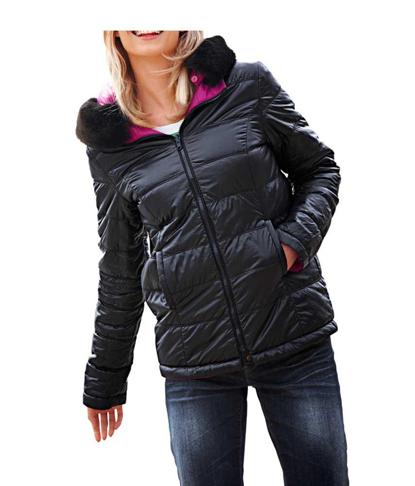 jacken auf rechnung bestellen als neukunde Rick Cardona Designer Damen-Wende-Steppjacke Jacke Gesteppt pink-schwarz 070.412 MISSFORTY
