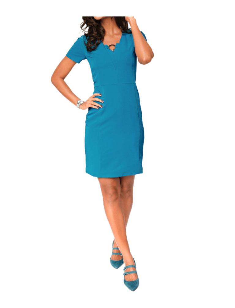 business kleider für damen PATRIZIA DINI Damen Designer-Etuikleid Petrolblau 070.498 Missforty