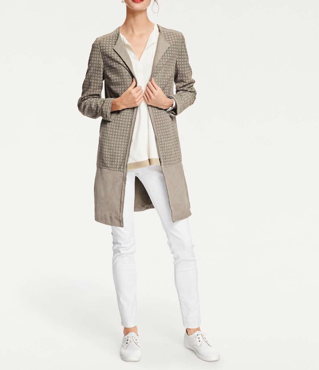 Damenmäntel Frühjahr 2021 RICK CARDONA Damen Designer-Ziegenledermantel Sand Mantel Echtleder 072.326 Missforty
