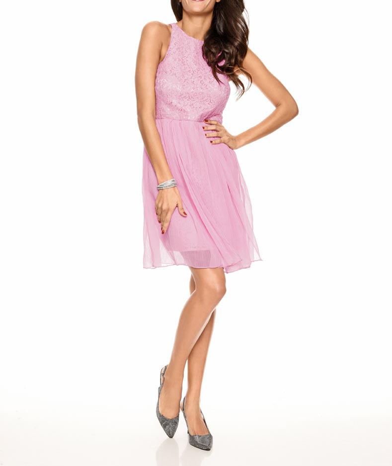kurzes kleid für besondere anlässe Spitzen-Chiffonkleid, rosé von Ashley Brooke event Grösse 44 074.697 Missforty